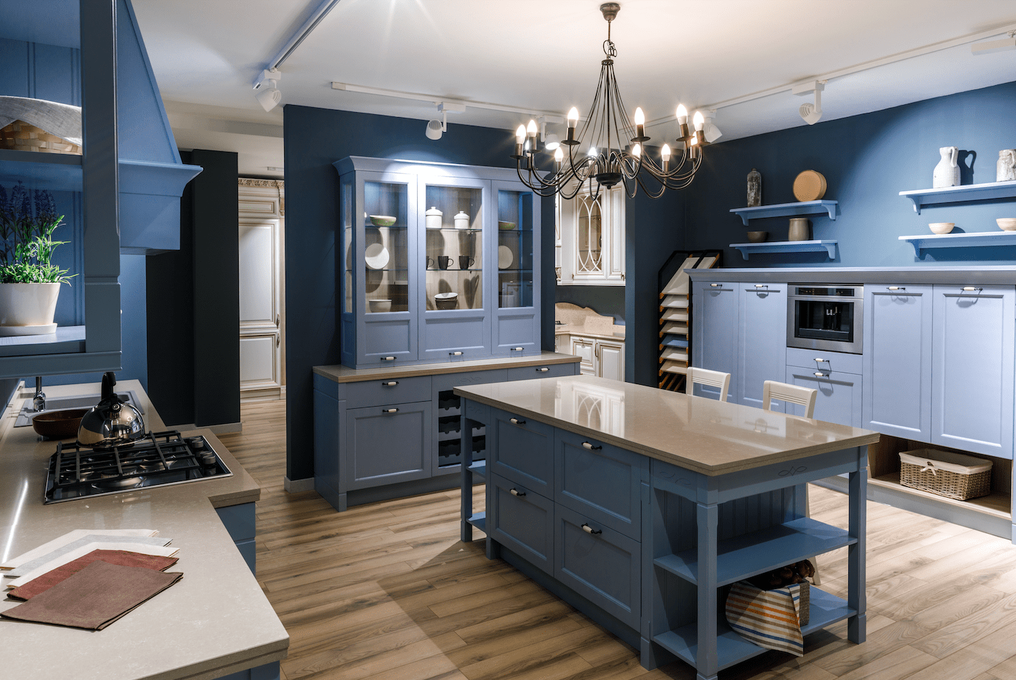 Bergen Granite & Marble - Blue Kitchen Cabinets