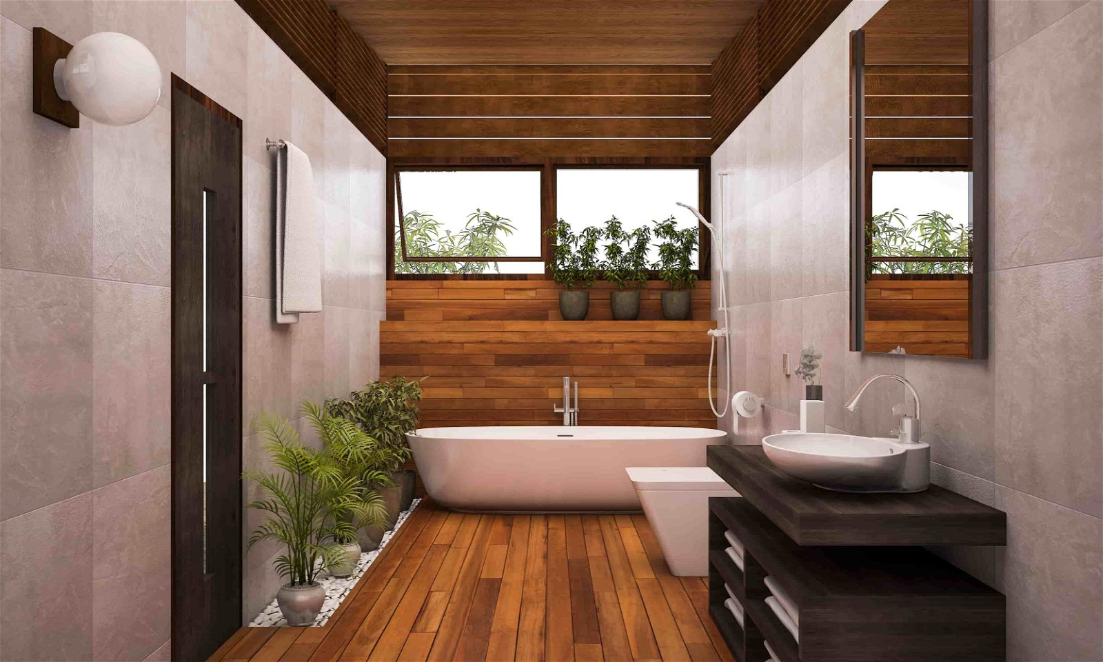 Contemporary Wood Bathroom with Plants