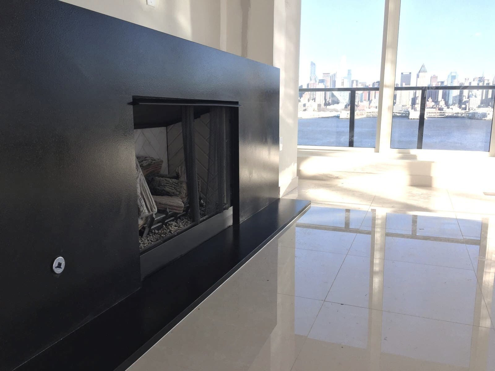 Absolute Black Honed Granite Fireplace